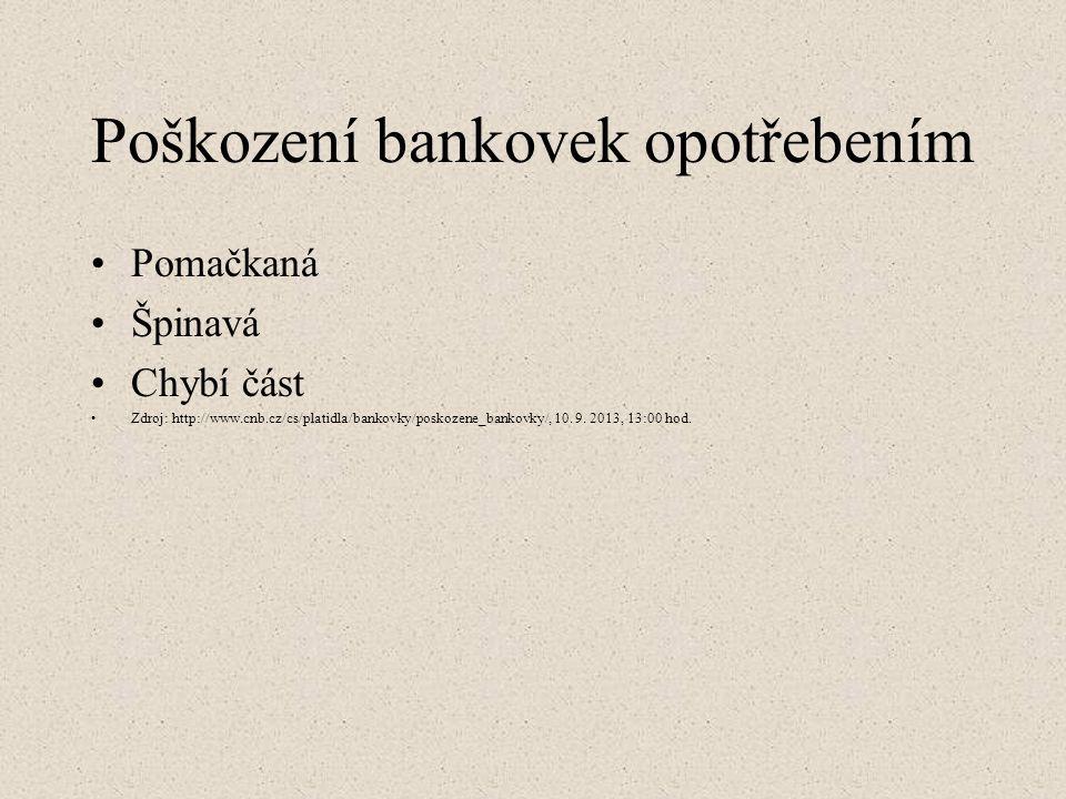 Poškození bankovek opotřebením