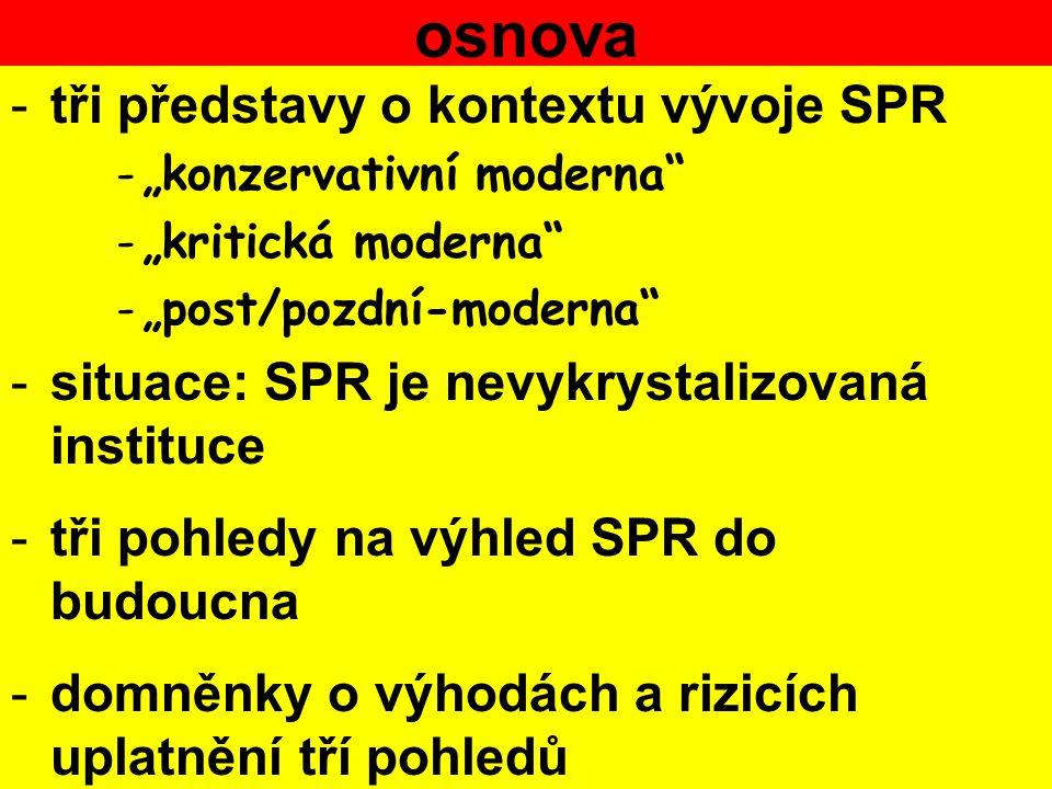 osnova tři představy o kontextu vývoje SPR