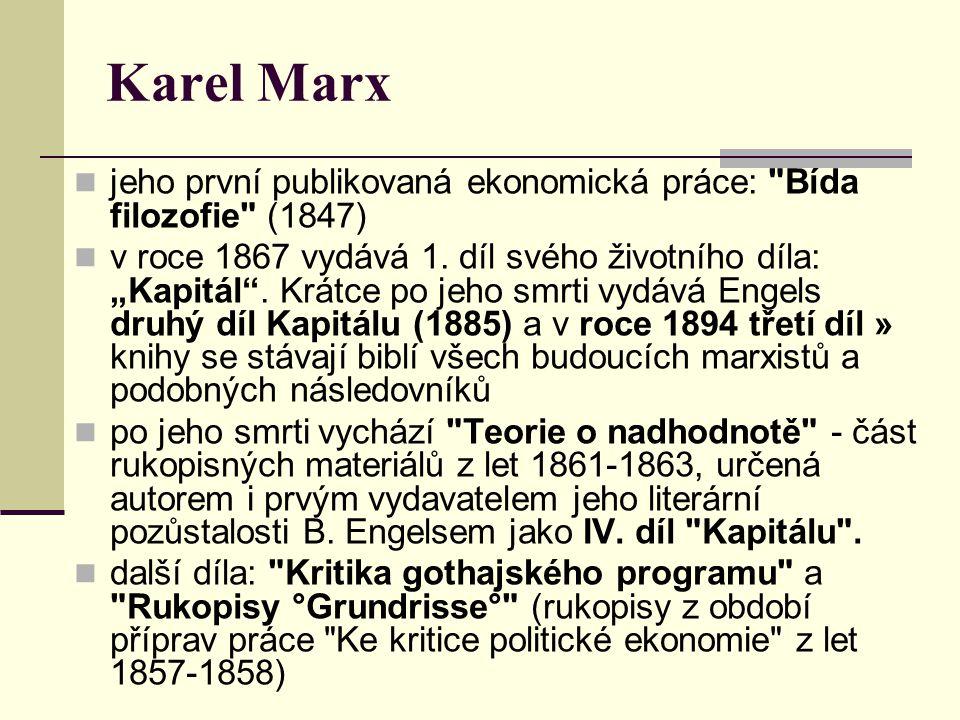 Karel Marx jeho první publikovaná ekonomická práce: Bída filozofie (1847)