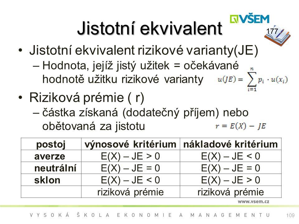 Jistotní ekvivalent Jistotní ekvivalent rizikové varianty(JE)