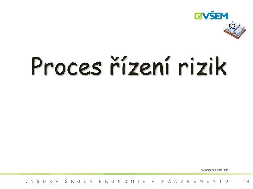 182 Proces řízení rizik