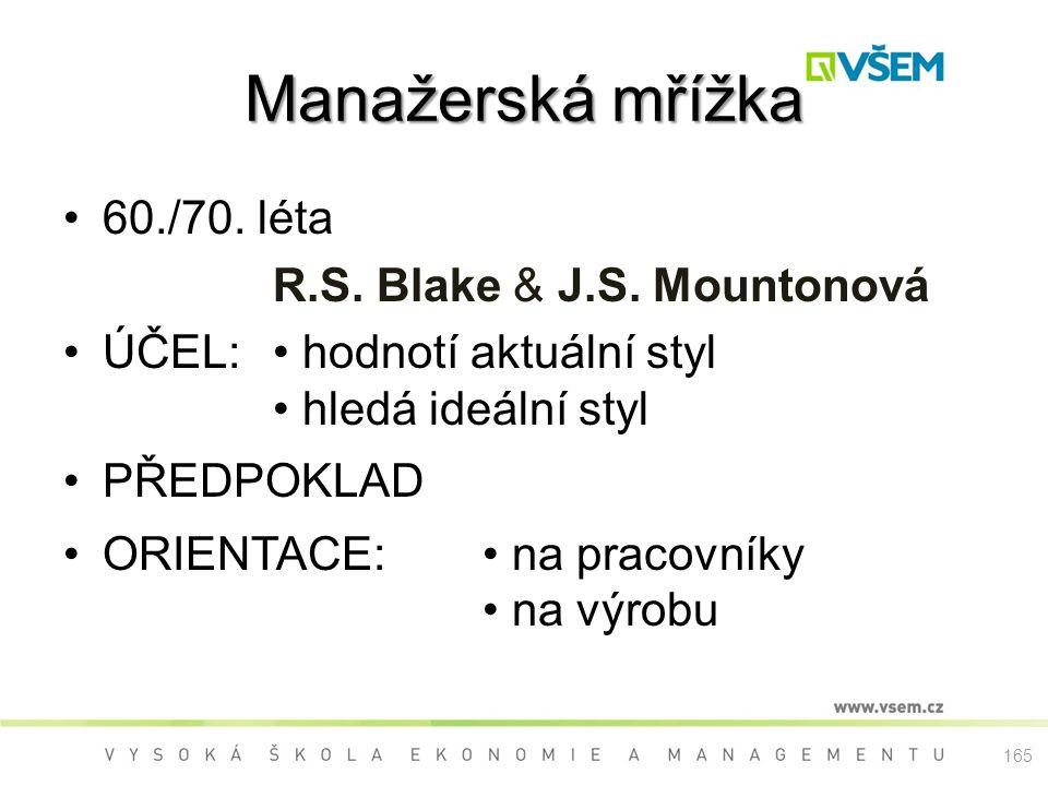 Manažerská mřížka 60./70. léta R.S. Blake & J.S. Mountonová