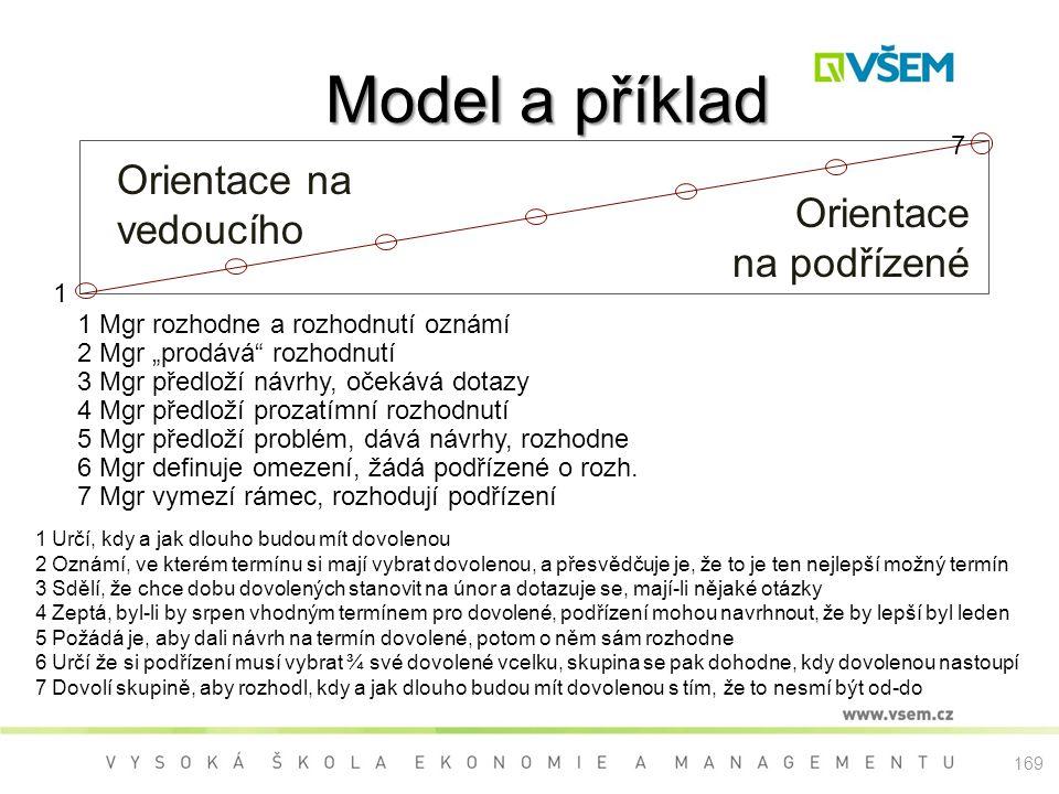 Model a příklad Orientace na vedoucího Orientace na podřízené 7 1