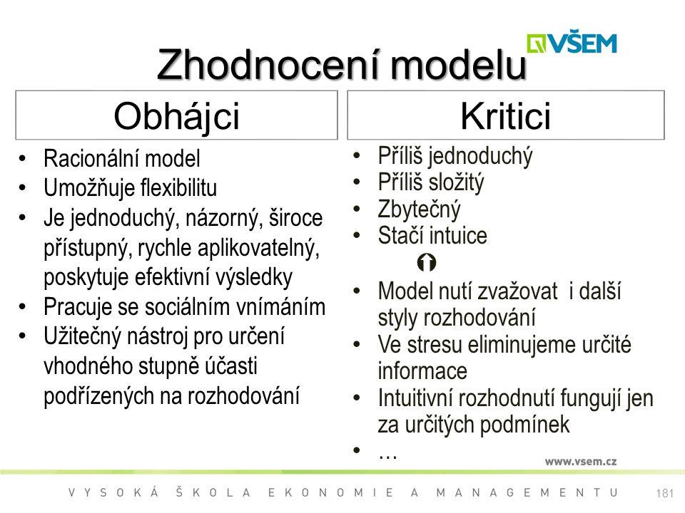 Zhodnocení modelu Obhájci Kritici Racionální model