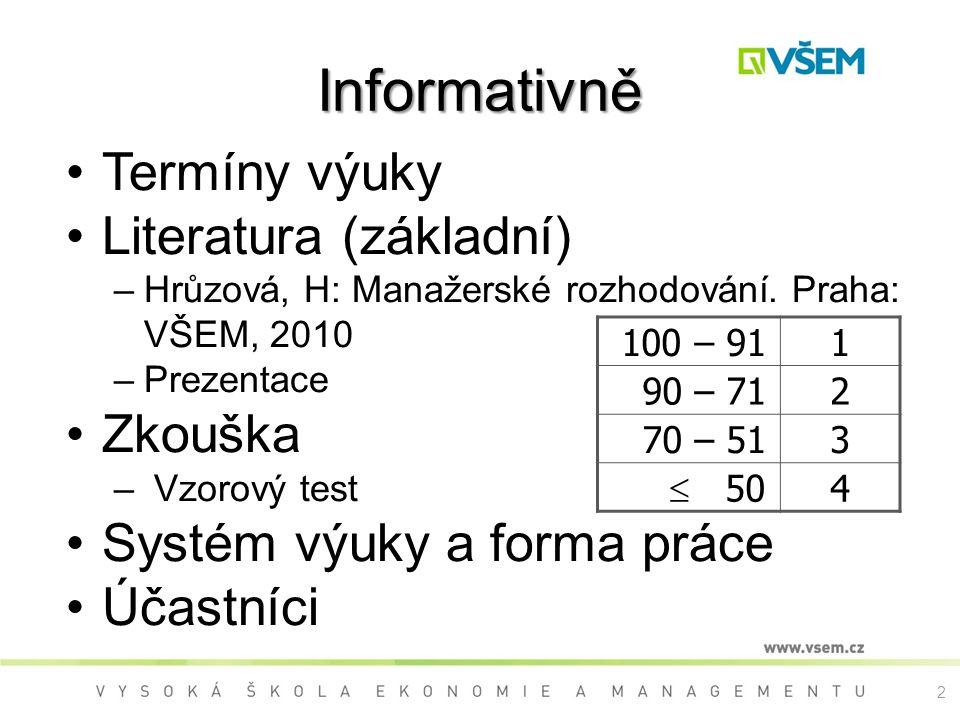 Informativně Termíny výuky Literatura (základní) Zkouška