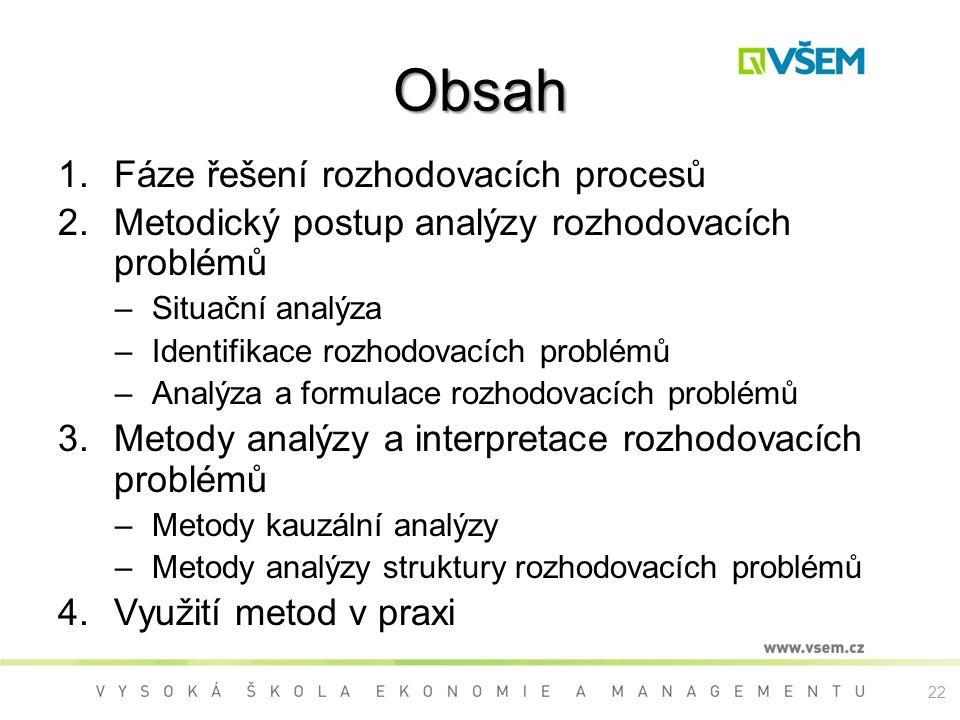 Obsah Fáze řešení rozhodovacích procesů