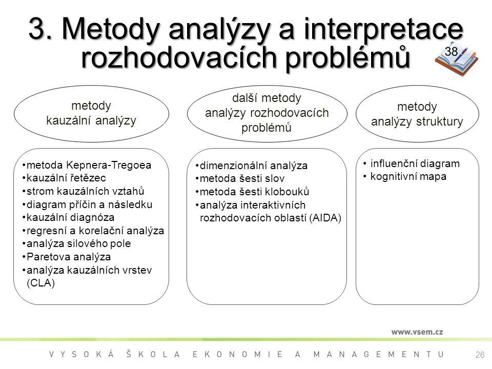 3. Metody analýzy a interpretace rozhodovacích problémů