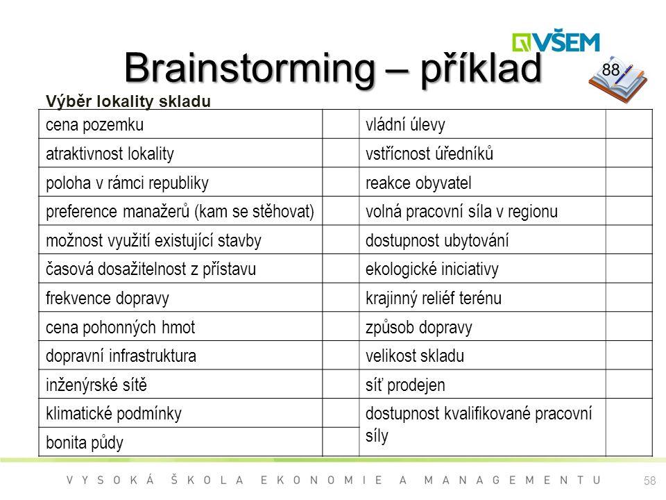 Brainstorming – příklad