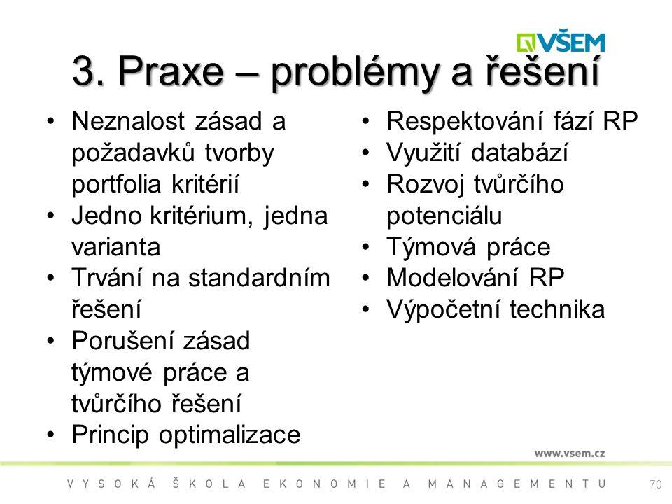 3. Praxe – problémy a řešení