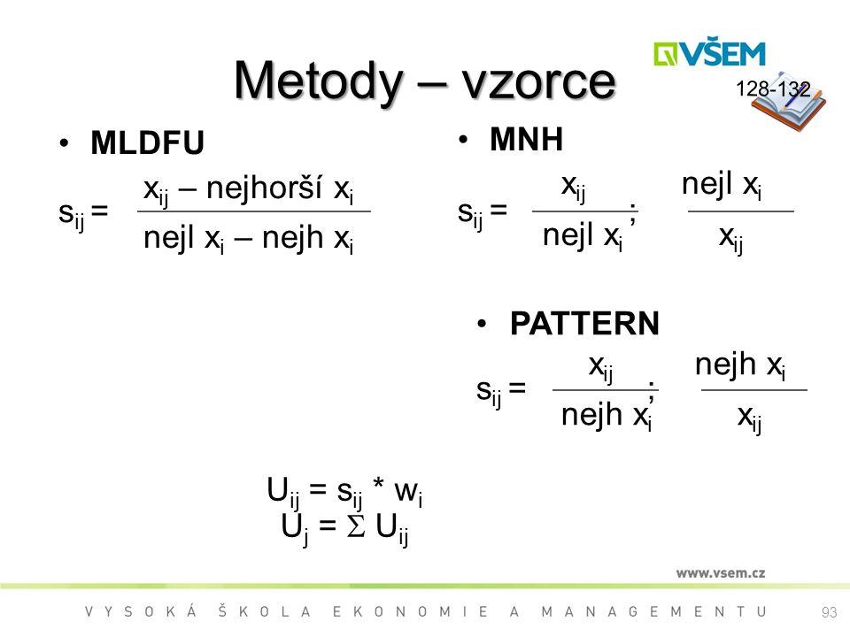 Metody – vzorce MLDFU xij – nejhorší xi sij = nejl xi – nejh xi MNH