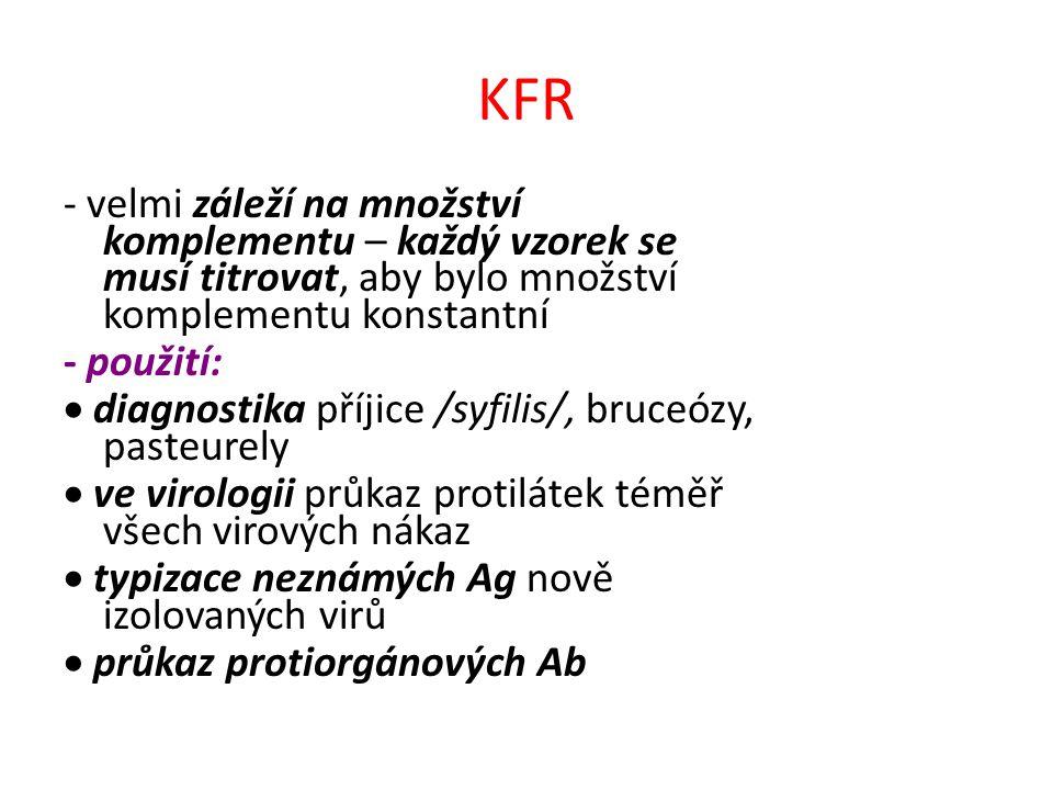 KFR - velmi záleží na množství komplementu – každý vzorek se musí titrovat, aby bylo množství komplementu konstantní.