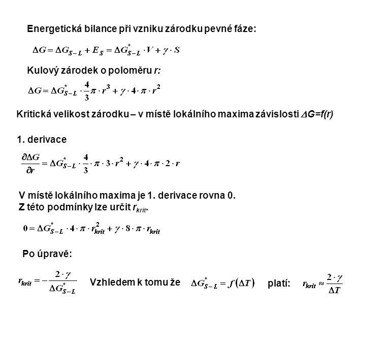 Energetická bilance při vzniku zárodku pevné fáze: