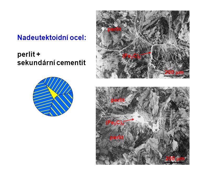 Nadeutektoidní ocel: perlit + sekundární cementit perlit (Fe3C)II
