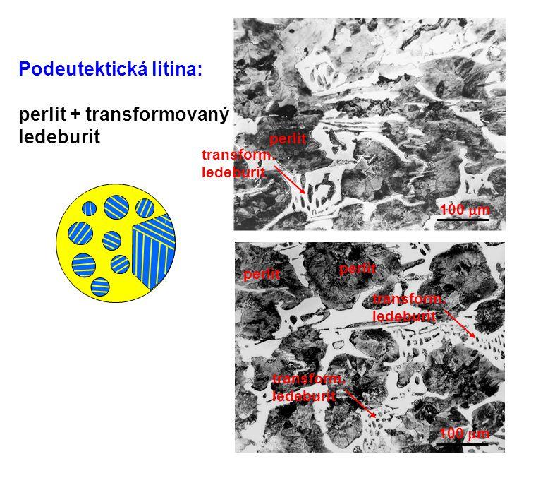Podeutektická litina: perlit + transformovaný ledeburit