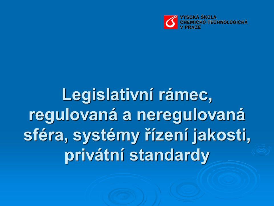 Legislativní rámec, regulovaná a neregulovaná sféra, systémy řízení jakosti, privátní standardy