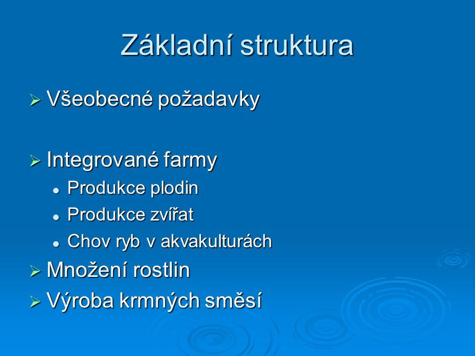 Základní struktura Všeobecné požadavky Integrované farmy