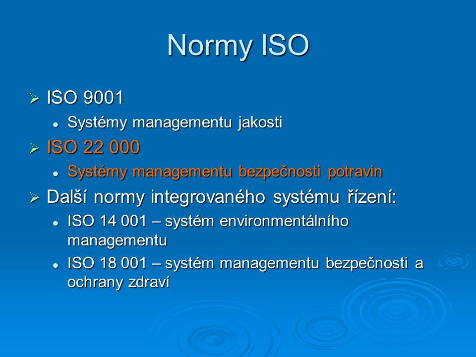 Normy ISO ISO 9001. Systémy managementu jakosti. ISO 22 000. Systémy managementu bezpečnosti potravin.