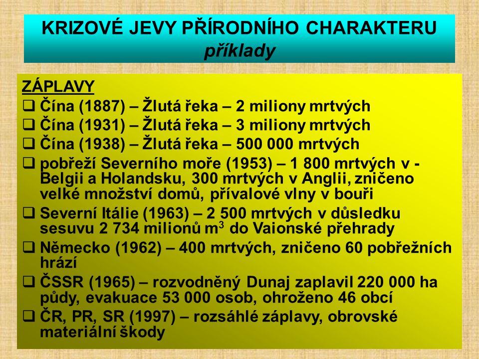 KRIZOVÉ JEVY PŘÍRODNÍHO CHARAKTERU příklady