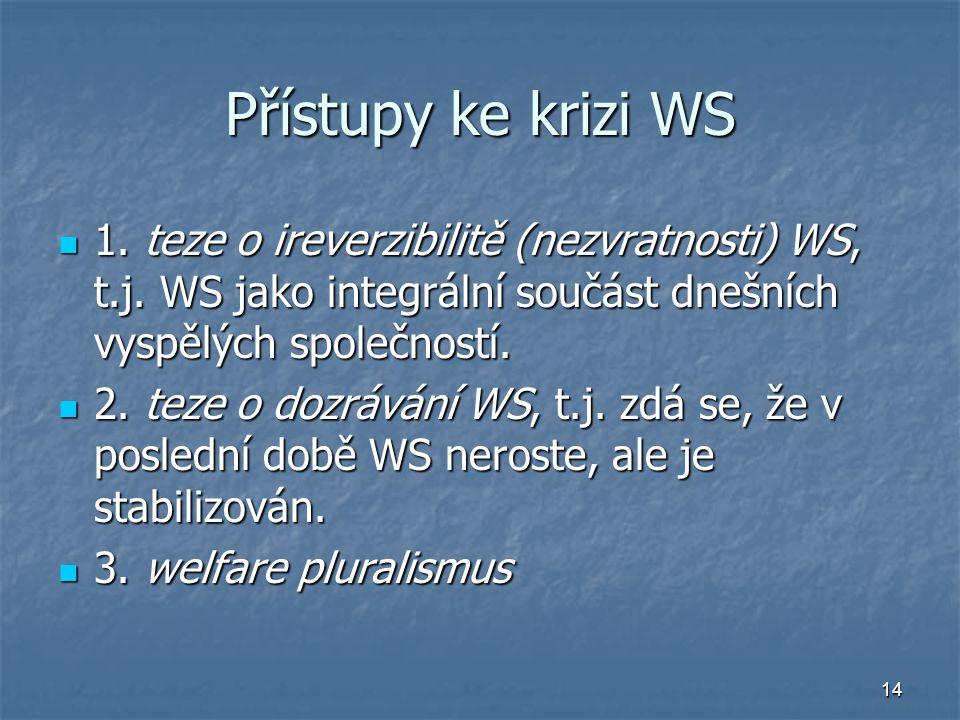 Přístupy ke krizi WS 1. teze o ireverzibilitě (nezvratnosti) WS, t.j. WS jako integrální součást dnešních vyspělých společností.