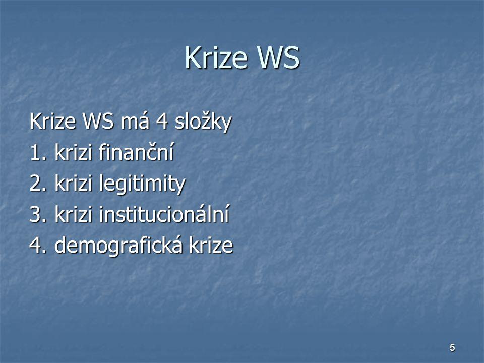 Krize WS Krize WS má 4 složky 1. krizi finanční 2. krizi legitimity