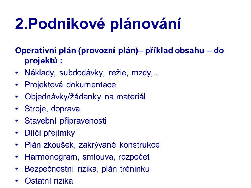 2.Podnikové plánování Operativní plán (provozní plán)– příklad obsahu – do projektů : Náklady, subdodávky, režie, mzdy,..