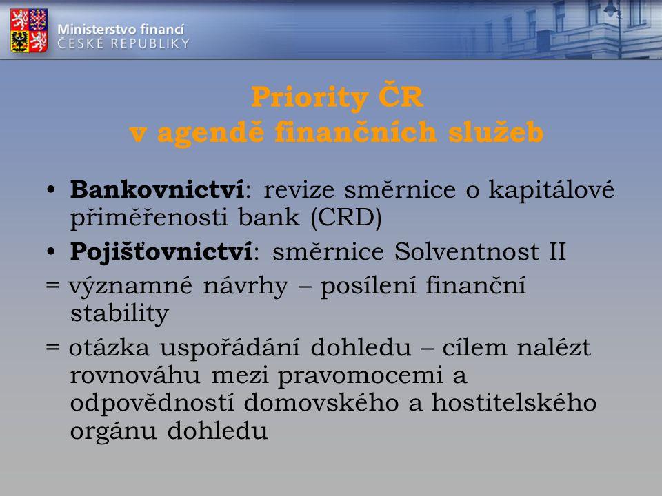 Priority ČR v agendě finančních služeb