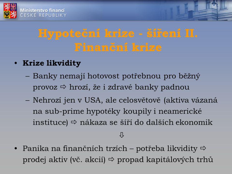 Hypoteční krize - šíření II. Finanční krize