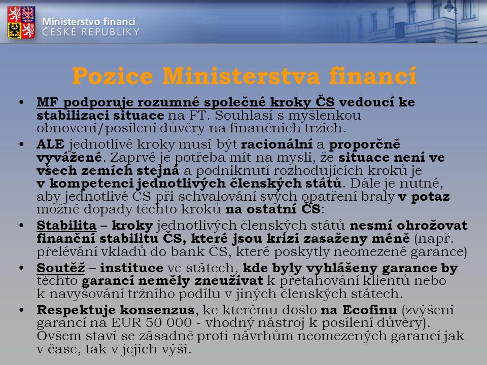 Pozice Ministerstva financí
