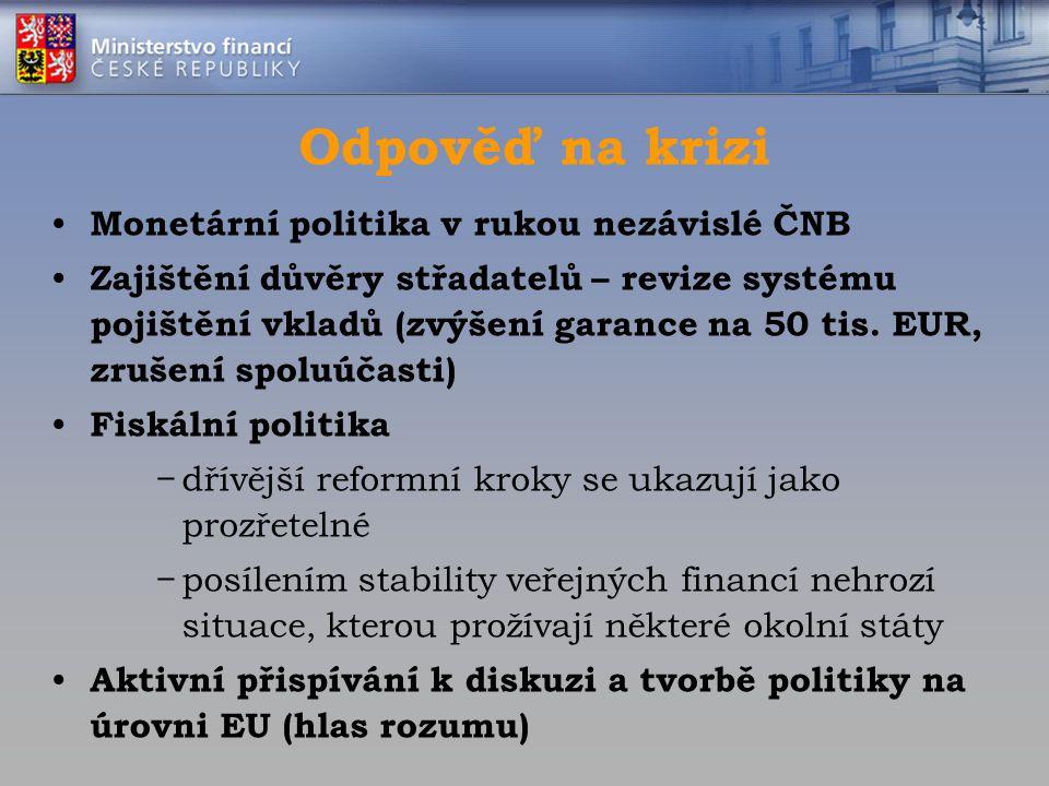 Odpověď na krizi Monetární politika v rukou nezávislé ČNB