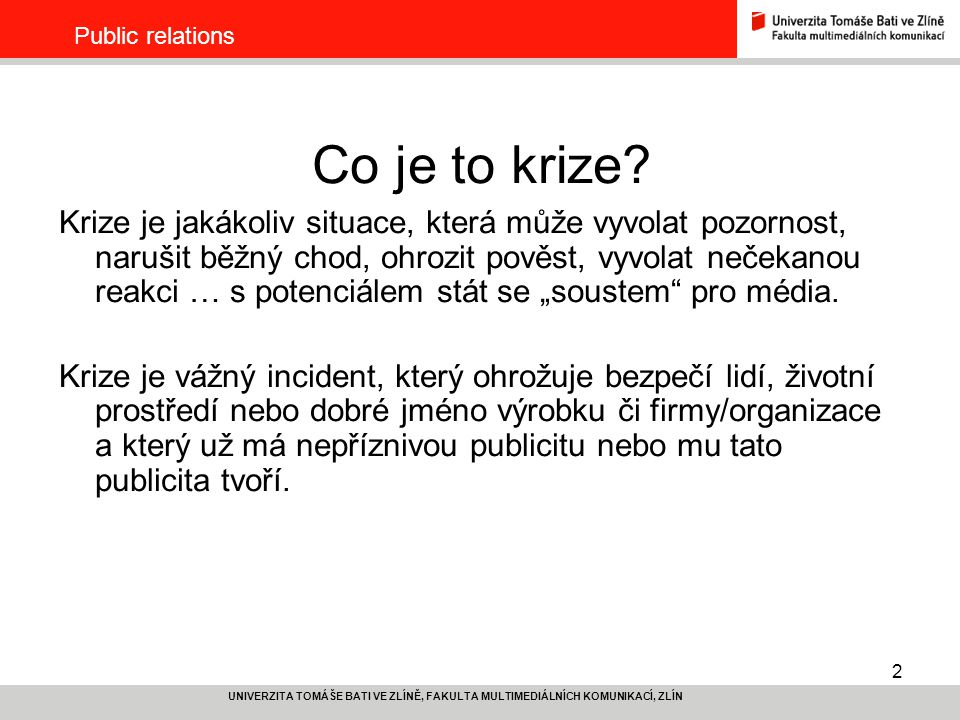 Public relations Co je to krize