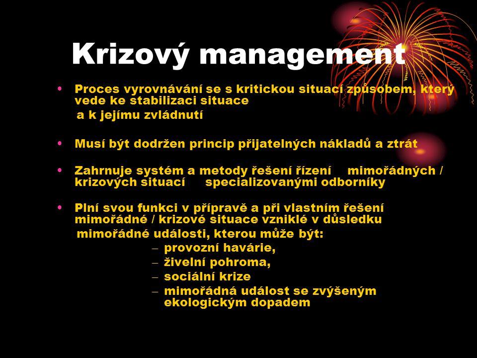Krizový management Proces vyrovnávání se s kritickou situací způsobem, který vede ke stabilizaci situace.
