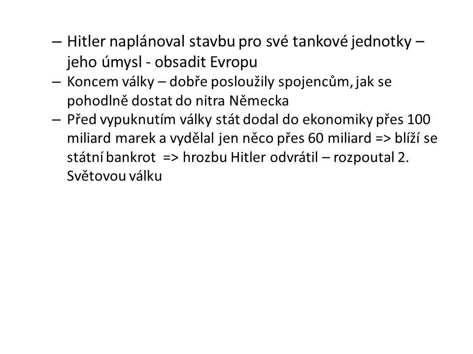 Hitler naplánoval stavbu pro své tankové jednotky – jeho úmysl - obsadit Evropu