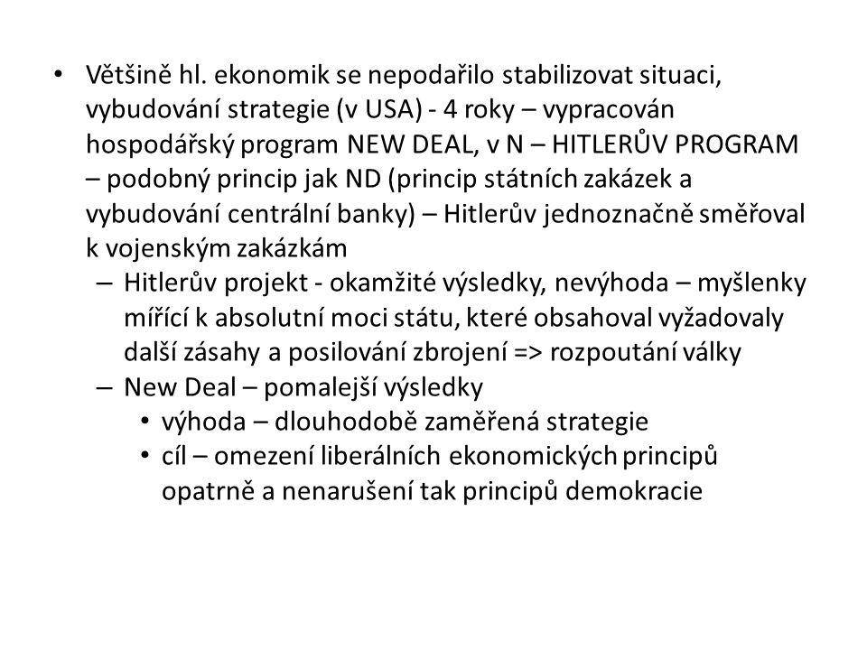 Většině hl. ekonomik se nepodařilo stabilizovat situaci, vybudování strategie (v USA) - 4 roky – vypracován hospodářský program NEW DEAL, v N – HITLERŮV PROGRAM – podobný princip jak ND (princip státních zakázek a vybudování centrální banky) – Hitlerův jednoznačně směřoval k vojenským zakázkám