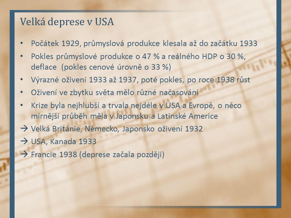 Velká deprese v USA Počátek 1929, průmyslová produkce klesala až do začátku 1933.
