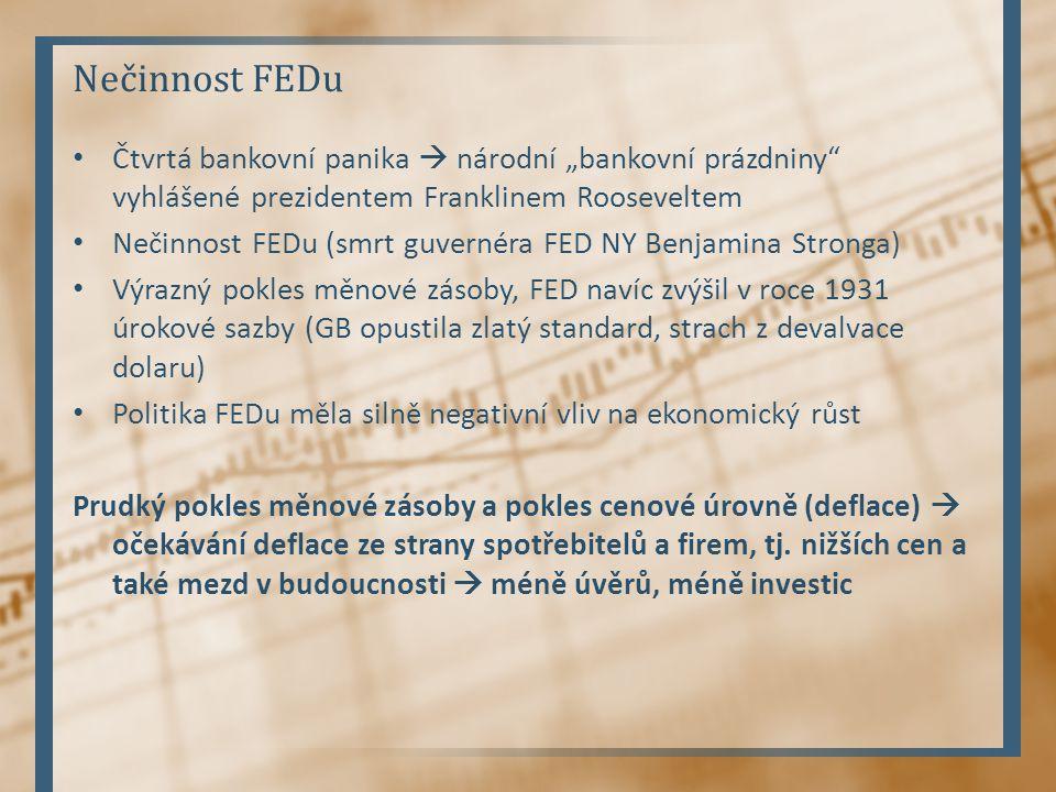 """Nečinnost FEDu Čtvrtá bankovní panika  národní """"bankovní prázdniny vyhlášené prezidentem Franklinem Rooseveltem."""