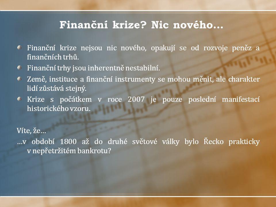 Finanční krize Nic nového…