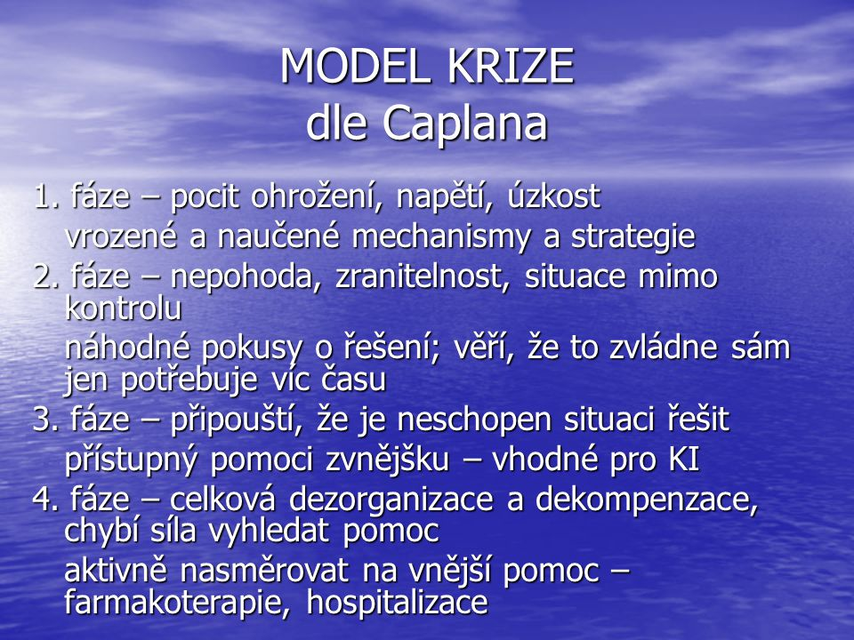 MODEL KRIZE dle Caplana