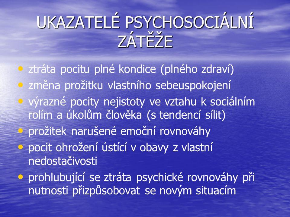 UKAZATELÉ PSYCHOSOCIÁLNÍ ZÁTĚŽE