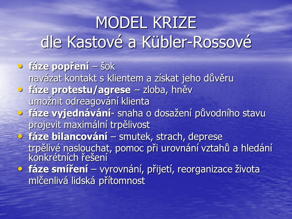MODEL KRIZE dle Kastové a Kübler-Rossové