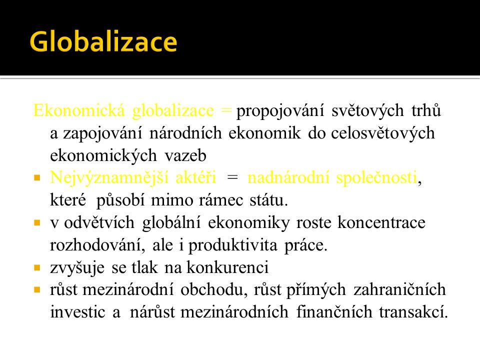 Globalizace Ekonomická globalizace = propojování světových trhů a zapojování národních ekonomik do celosvětových ekonomických vazeb.