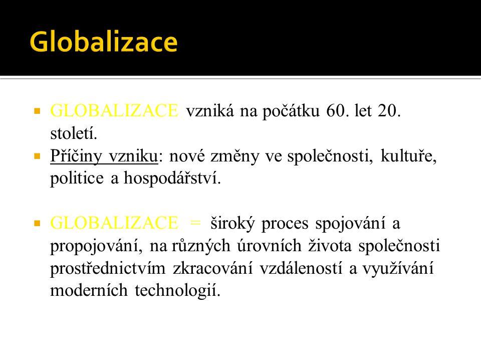Globalizace GLOBALIZACE vzniká na počátku 60. let 20. století.