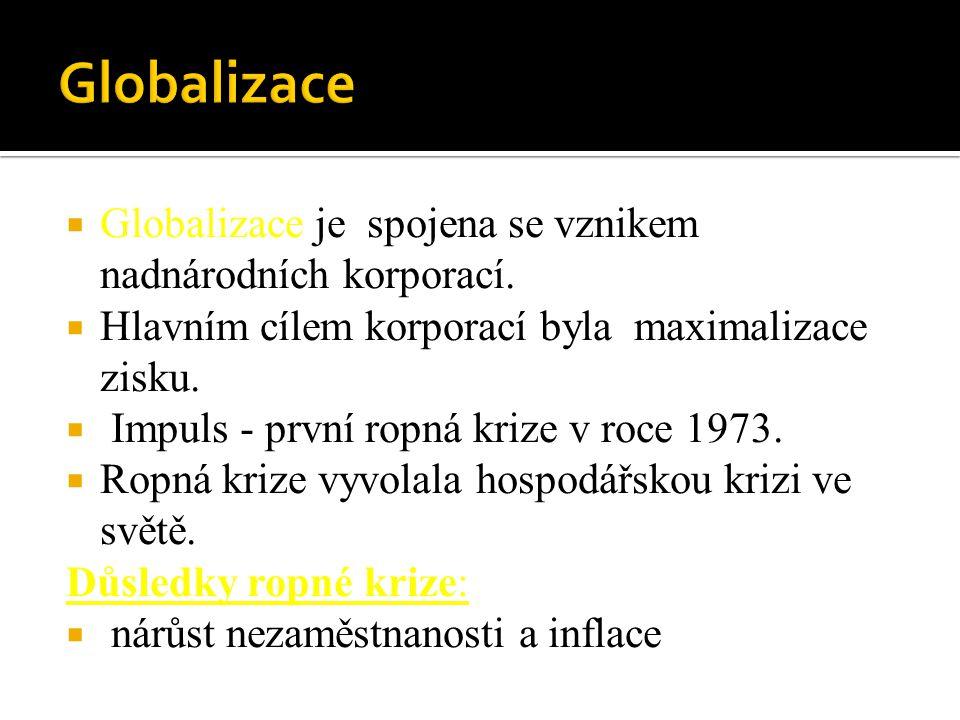 Globalizace Globalizace je spojena se vznikem nadnárodních korporací.
