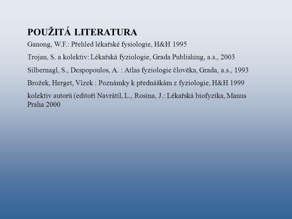 POUŽITÁ LITERATURA Ganong, W.F.: Přehled lékařské fysiologie, H&H 1995