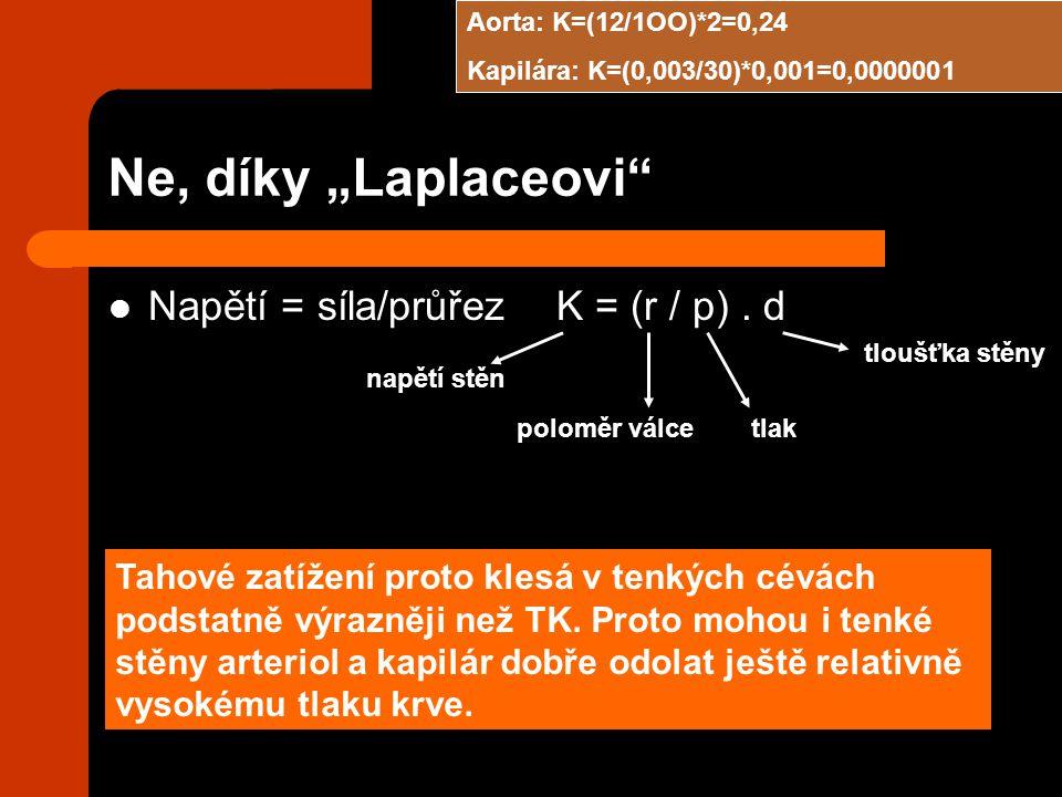 """Ne, díky """"Laplaceovi Napětí = síla/průřez K = (r / p) . d"""