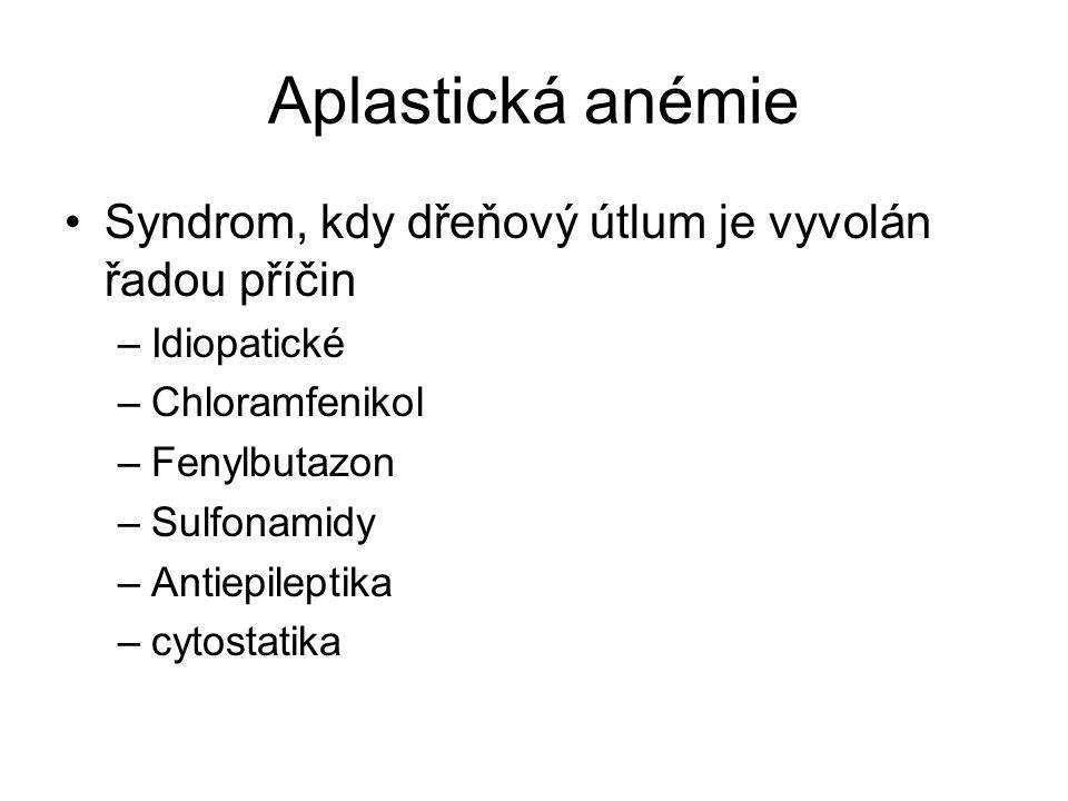 Aplastická anémie Syndrom, kdy dřeňový útlum je vyvolán řadou příčin