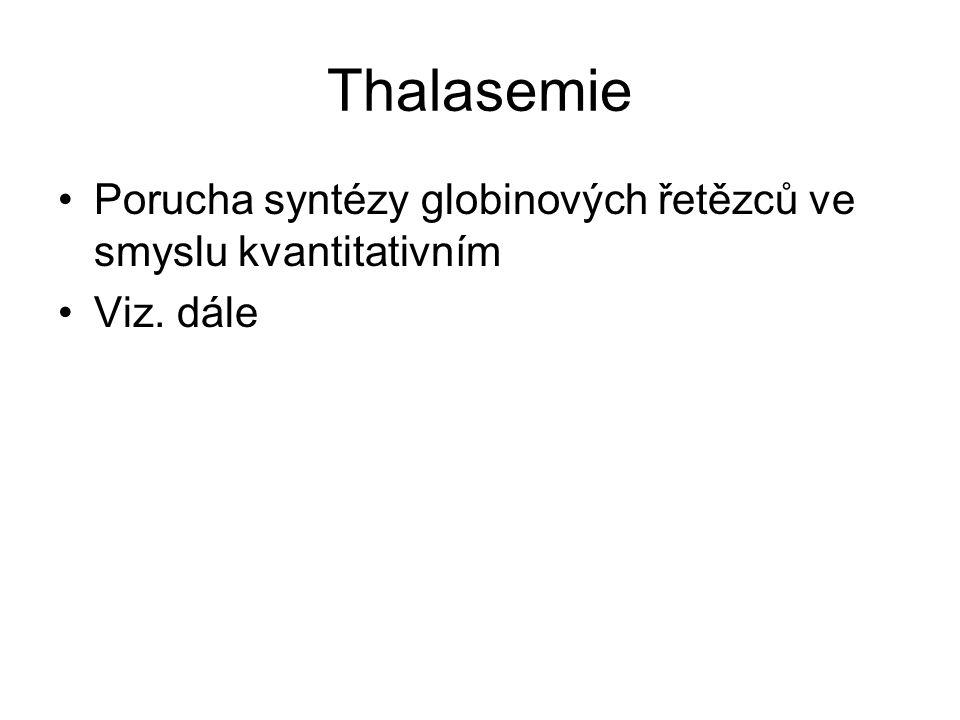Thalasemie Porucha syntézy globinových řetězců ve smyslu kvantitativním Viz. dále
