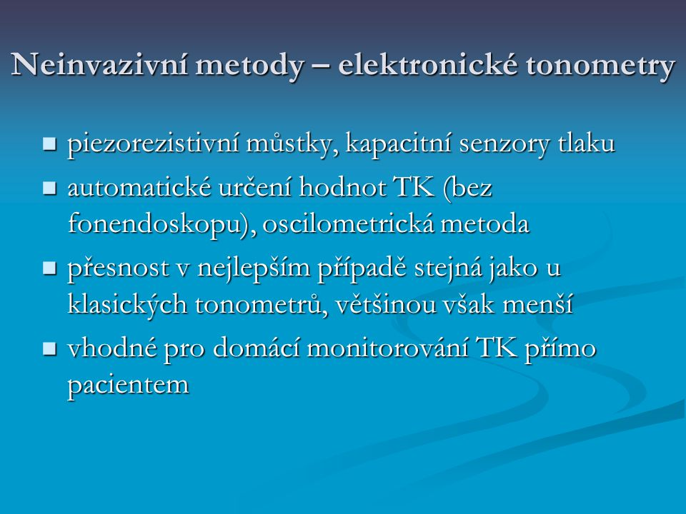 Neinvazivní metody – elektronické tonometry