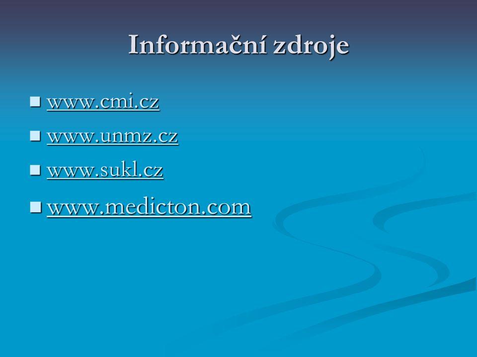 Informační zdroje www.cmi.cz www.unmz.cz www.sukl.cz www.medicton.com
