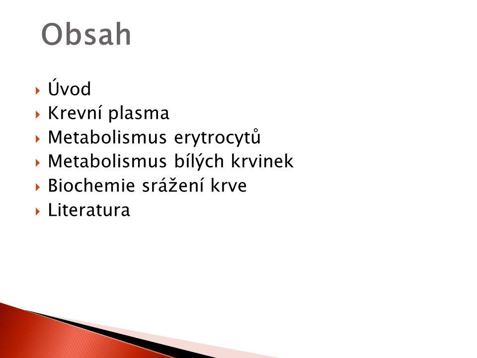 Obsah Úvod Krevní plasma Metabolismus erytrocytů