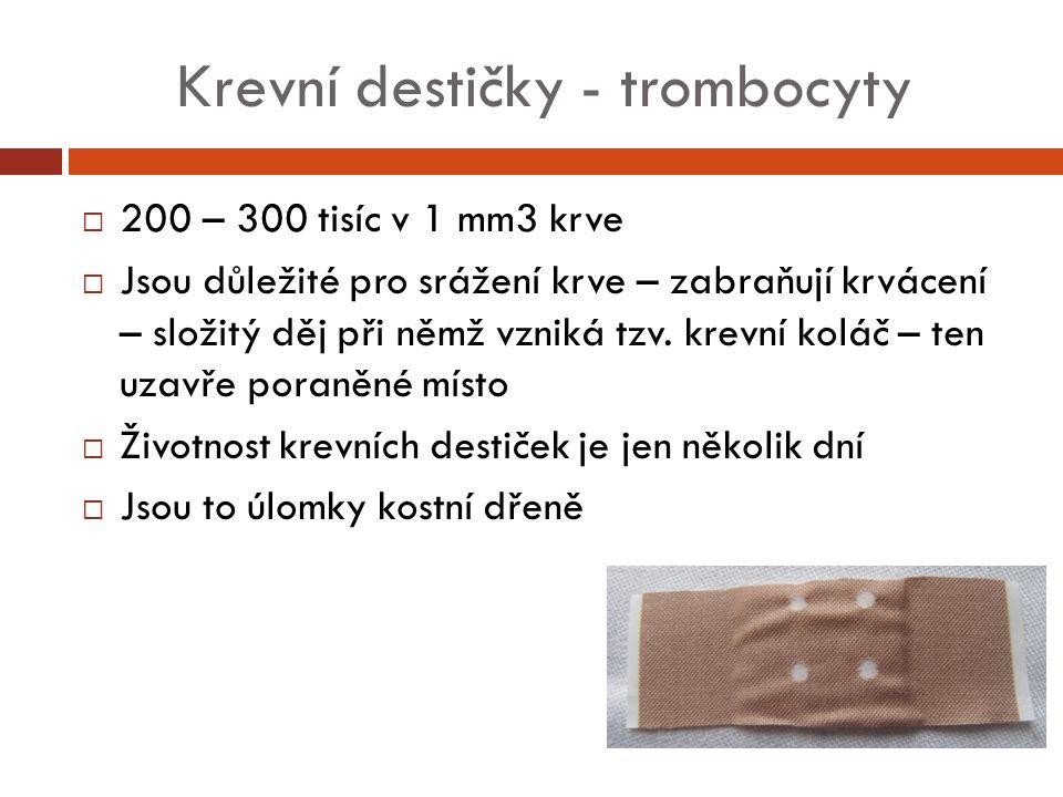 Krevní destičky - trombocyty